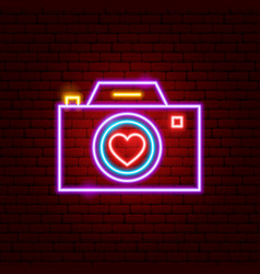 love camera neon sign vector image