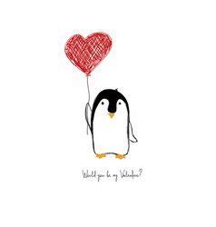 Love card with cute penguin vector