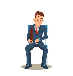 Man in suit sit on chair wait for job interview vector