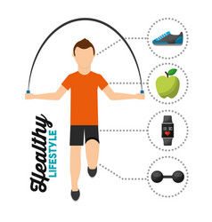 man jumping rope training healthy lifestyle vector image