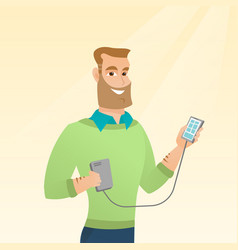 Man reharging smartphone from portable battery vector