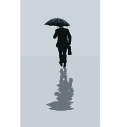 Man walking in the rain vector image