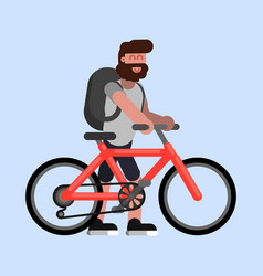 man walks with bike vector image