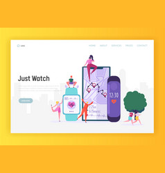 modern smartwatch for sportsman landing page vector image
