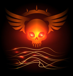motorbikers skull poster with shining elements vector image