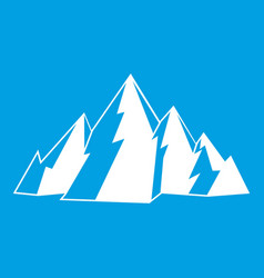 Mountain icon white vector