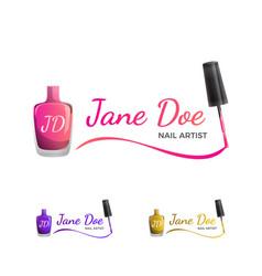 Nail art logo template with nail polish vector
