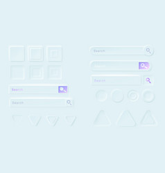 neumorphic buttons and search bars for ui app vector image