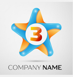 number three logo symbol in the colorful star on vector image