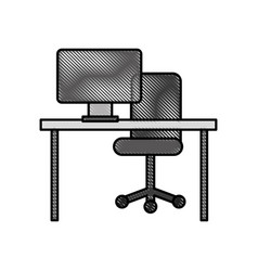 Office desk computer chair furniture workspace vector