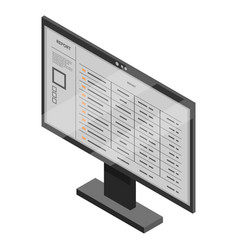 office monitor icon isometric style vector image