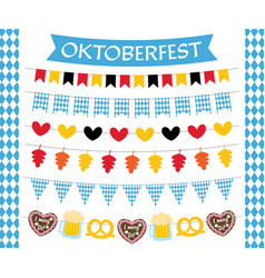 oktoberfest flags and decoration set vector image vector image