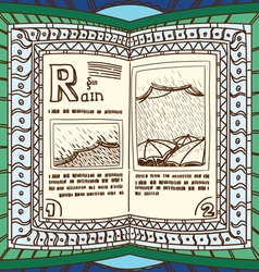 ornamented magic book with page rain vector image