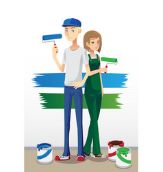 Painting couple vector