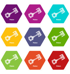piston icons set 9 vector image