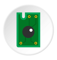 Processor chip icon circle vector