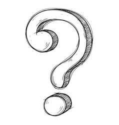 question mark grunge style hand drawn doodle vector image