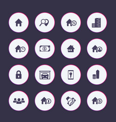 Real estate icons set apartments houses for rent vector