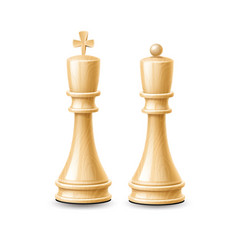 realistic 3d king queen chess pieces white vector image