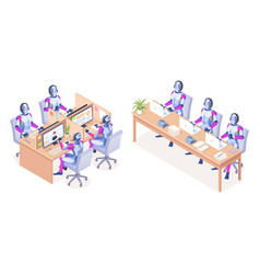 robots with computers working at call center vector image