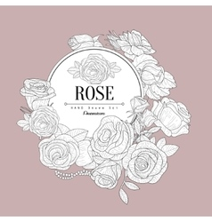 Rose Themed Vintage Sketch vector image