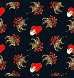 russian folk khokhloma traditional blue seamless vector image