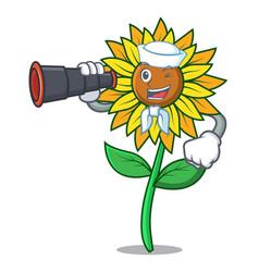sailor with binocular sunflower mascot cartoon vector image