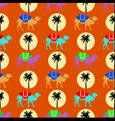 seamless pattern with camels sun and palm tree vector image