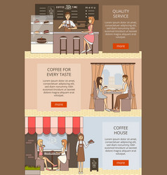 set of coffee time horizontal banners in vector image