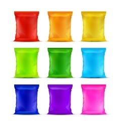 Set of Colored Sealed Plastic Foil Chips Bags vector