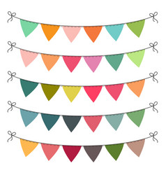 Set of multi colored flat buntings garlands vector