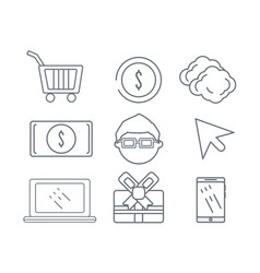 Set technology information icons service vector