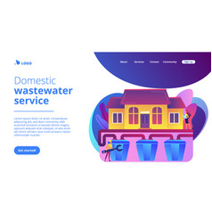 Sewerage system concept landing page vector