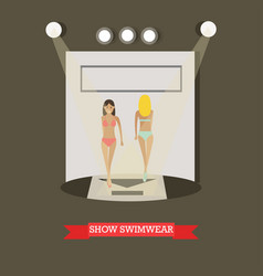 Show swimwear concept in flat vector
