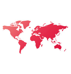 simplified silhouette of world map in pink-red vector image