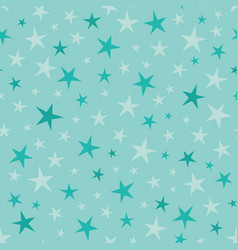 Soft blue green stars seamless pattern vector