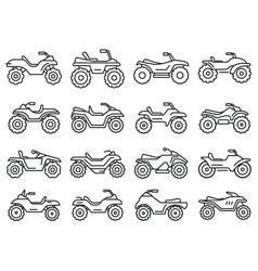 sport quad bike icons set outline style vector image
