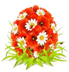 spring flowers in shape easter egg vector image