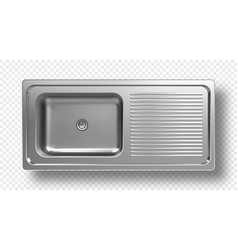 Stainless steel sink top view 3d mockup washbasin vector
