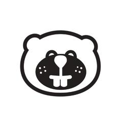 Stylish black and white icon Canadian beaver vector