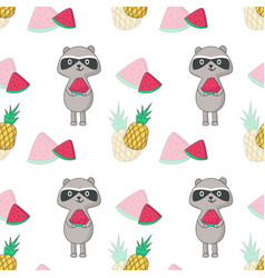 summer seamless pattern with raccoon vector image