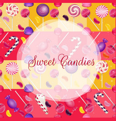 Sweets background with lolipop and jelly beans vector