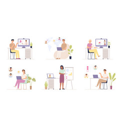 team working remotely distance job users in vector image