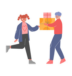 Teenage boy giving holiday gift boxes decorated vector