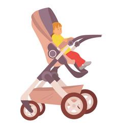 toddler kid sitting in perambulator stroller vector image