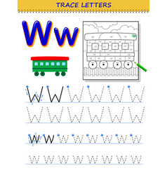 Tracing letter w for study alphabet printable vector
