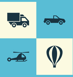 Transport icons set collection of van cabriolet vector