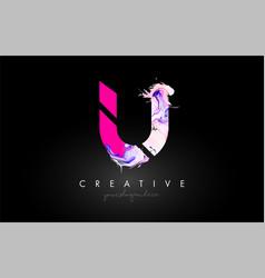 U letter artistic purple paint flow icon logo vector