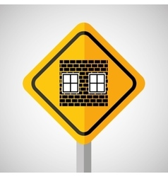 under construction road sign wall brick vector image