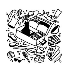 Vacation packing a suitcase doodle vector